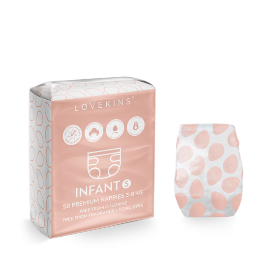 Lovekins: 58 Premium Nappies (Infant)