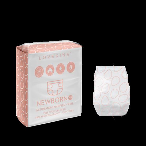 Lovekins: 68 Premium Nappies (Newborn)